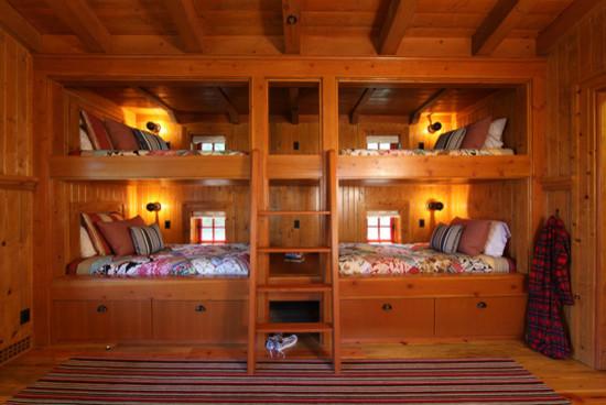 精美的上下鋪設計,可作為多口之家兒童房裝修參考.